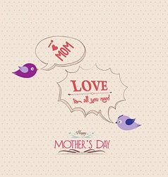 Mothers day poster with bird and bubble greeting vector