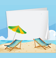 paper template with chairs on the beach vector image vector image