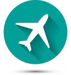 Plane icon on green background with shadow vector