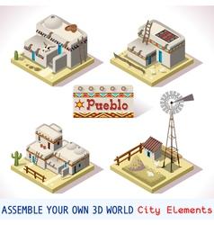 Pueblo tiles 03 set isometric vector