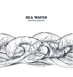 Seamless border pattern with hand drawn sea waves vector