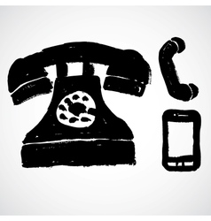 Set of grunge phones icons vector image