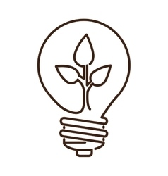silhouette light bulb flat icon with leaf inside vector image