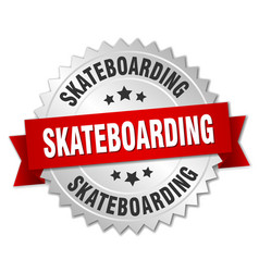 Skateboarding 3d silver badge with red ribbon vector