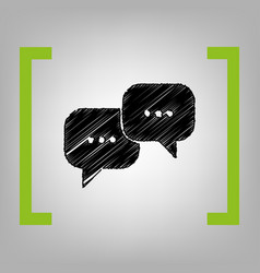 speech bubbles sign black scribble icon vector image vector image