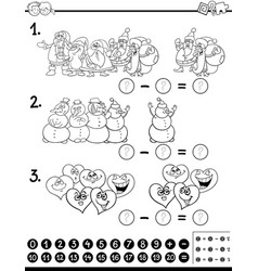 Subtraction activity coloring page vector