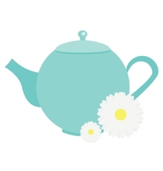 Teapot with chamomile flowers herbals blue tea vector