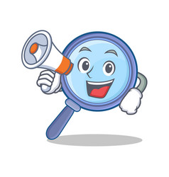 With megaphone magnifying glass character cartoon vector