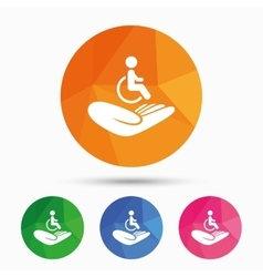 Disabled human insurance sign wheelchair man vector