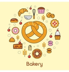Bakery and desserts line art thin icons set vector