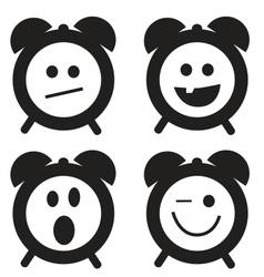 Smiles clock doodle cartoon set vector image