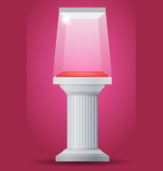 Showcase on column pedestal vector