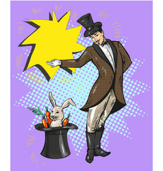 Vintage magician with rabbit in hat vector