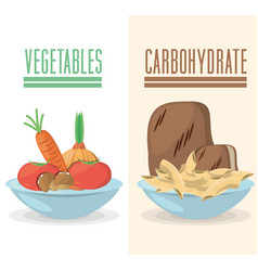 Vegetable carbohydrate food diet ingredient vector