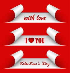 Valentines day red stickers vector