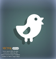 Chicken bird icon symbol on the blue-green vector