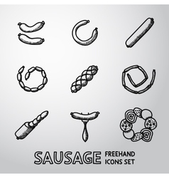 Set of freehand sausage icons with different vector