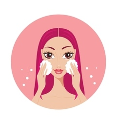 Young woman washing her face look beautiful and vector