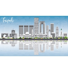 Tripoli Skyline with Gray Buildings vector image