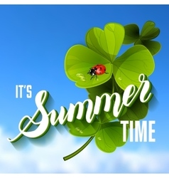 It is summer time lettering background with green vector