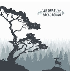 Forest design pine tree deer drawing sketch vector image