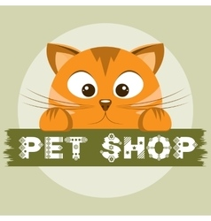 Pet shop emblem orange cat on animal store banner vector