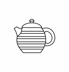 Striped teapot icon outline style vector