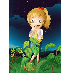 A scared young girl vector image vector image