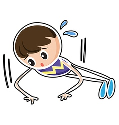 A sketch of a boy doing the push up exercise vector image