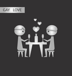 Black and white style icon gay romantic dinner vector