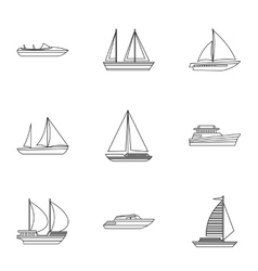 Boat icons set outline style vector