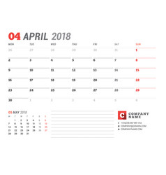 Calendar template for april 2017 business planner vector