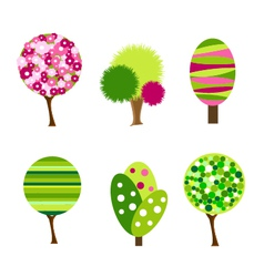 cartoon colorful trees vector image vector image