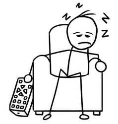 cartoon of man sleeping in the chair in front of vector image