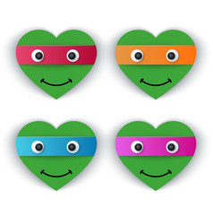 cartoon paper turtle - heart vector image