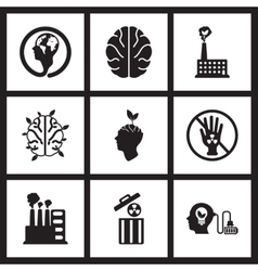Concept flat icons in black and white eco friend vector