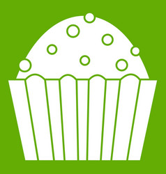 cup cake icon green vector image vector image
