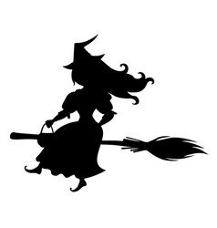 Cute halloween witch silhouette vector