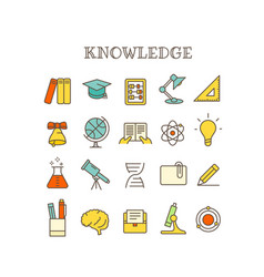 different knowledge thin line color icons set vector image vector image