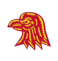 Eagle head side woodcut vector