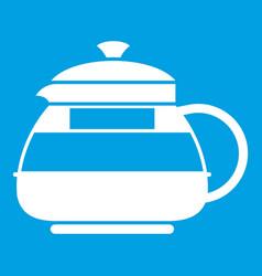 Glass teapot icon white vector
