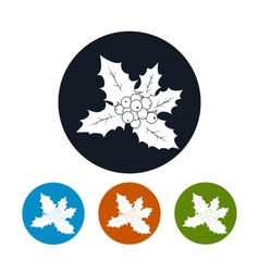 Icons christmas holly berry vector