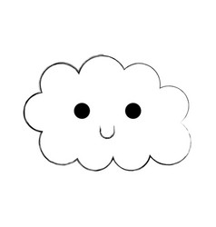 kawaii cloud funny cartoon decoration vector image