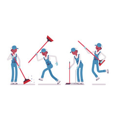 Male janitor sweeping the floor with a broom vector