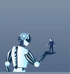 Robot holding human on palm modern artificial and vector