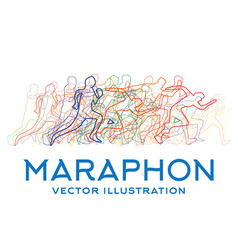 running people marathon concept vector image