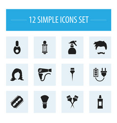 Set of 12 editable barbershop icons includes vector