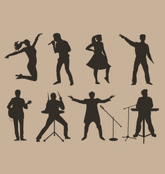 Set of brown silhouettes of musicians singers and vector