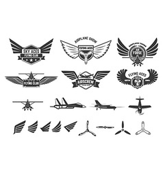 Set of flying club labels and emblems vector image