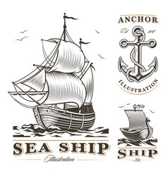set of vintage ships vector image